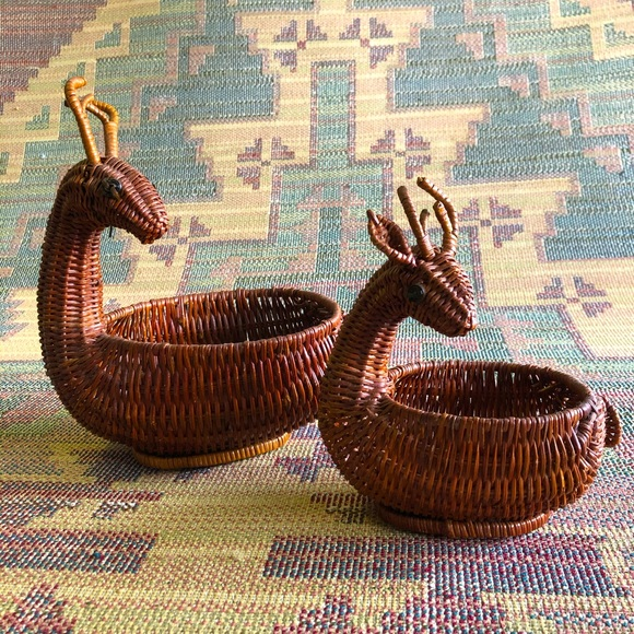 Set of 2 deer wicker baskets rustic farmhouse boho